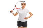 Female tennis player with a racket