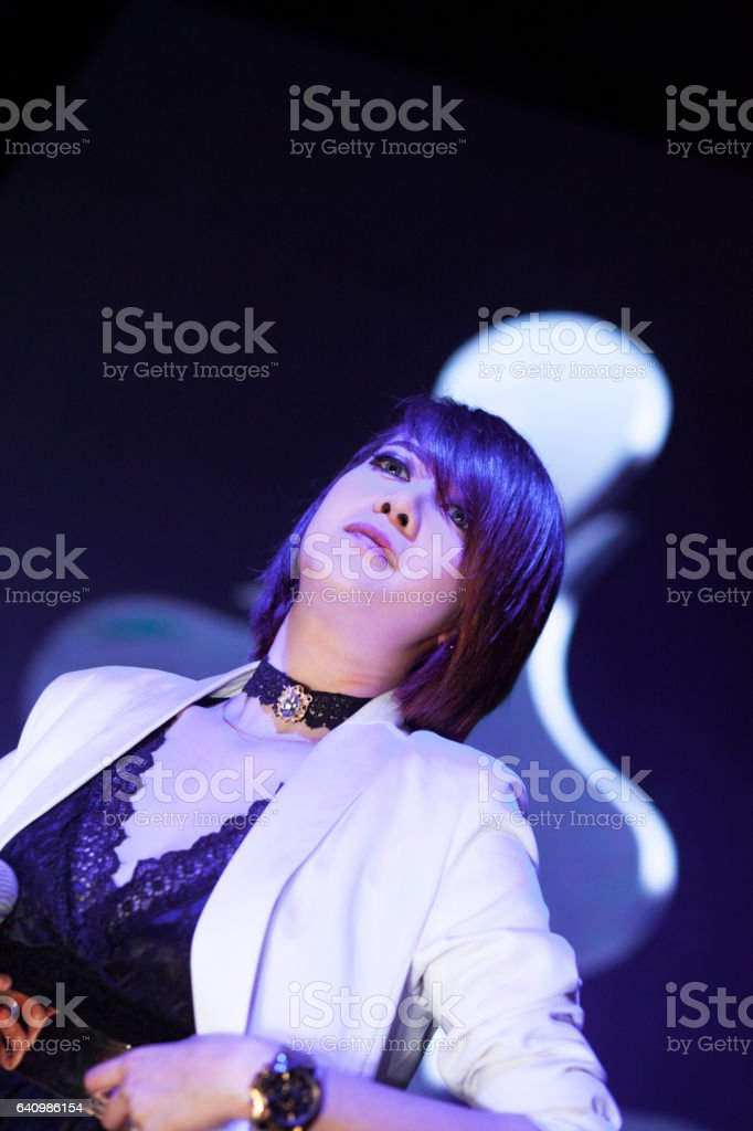 Female thai singer elegant dressed stock photo