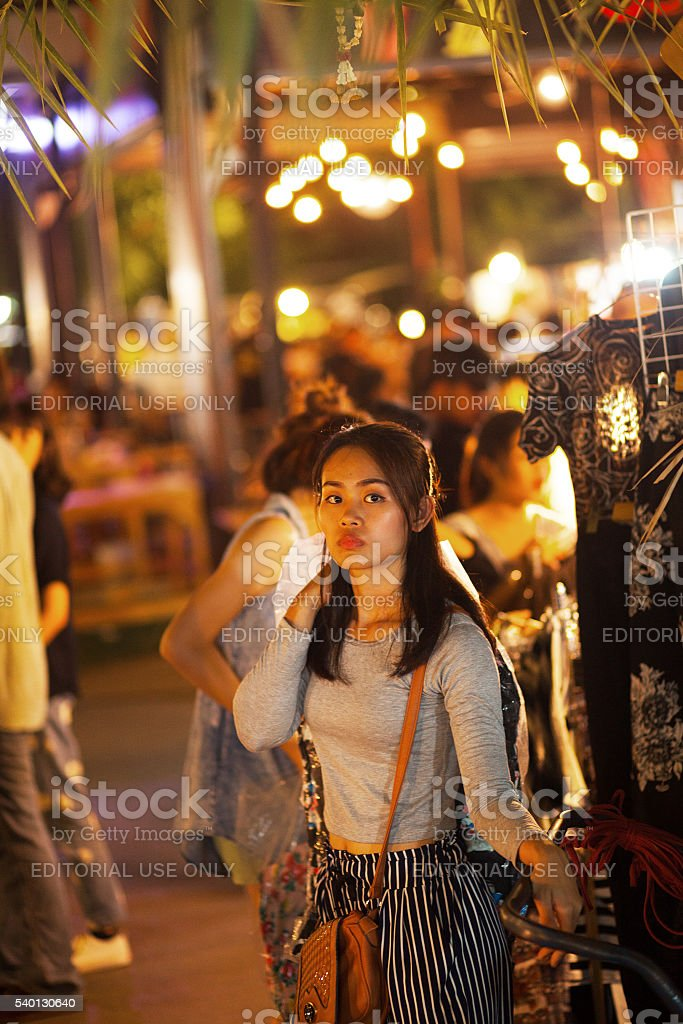Female thai vendor on night market stock photo