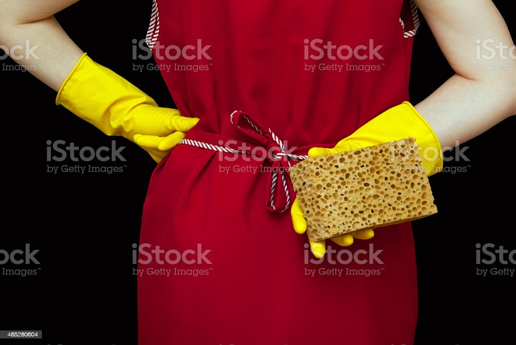 Female torso and hands red robe royalty-free stock photo