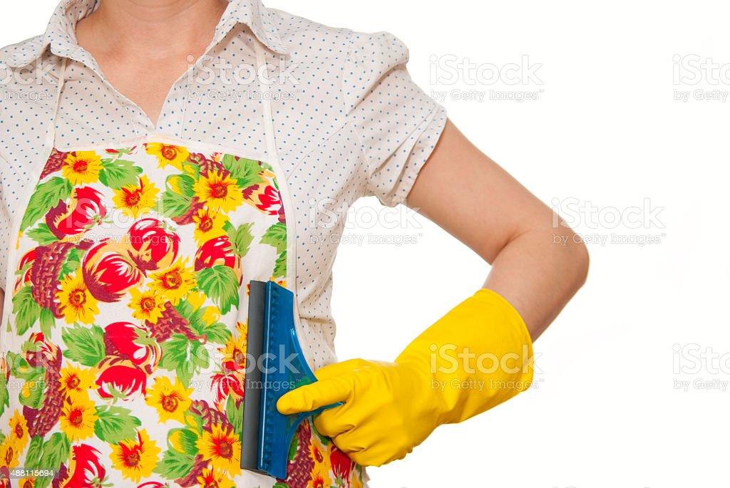 female torso in white shirt apron royalty-free stock photo