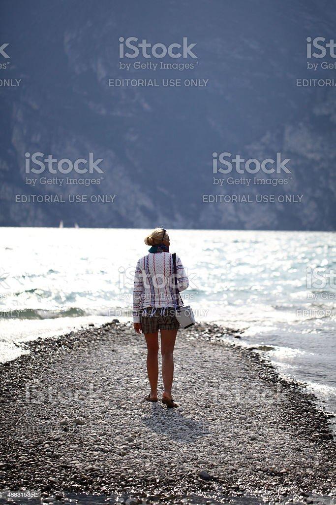 Female tourist at Lake Garda ,italy stock photo