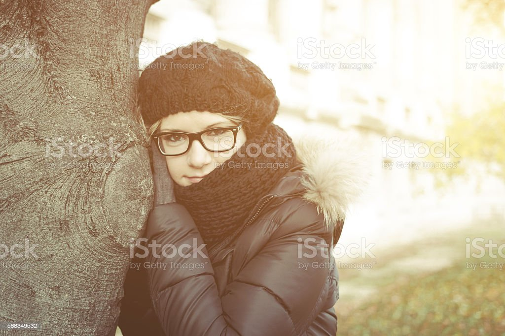 Female tourist enjoying city view on a street of Paris stock photo