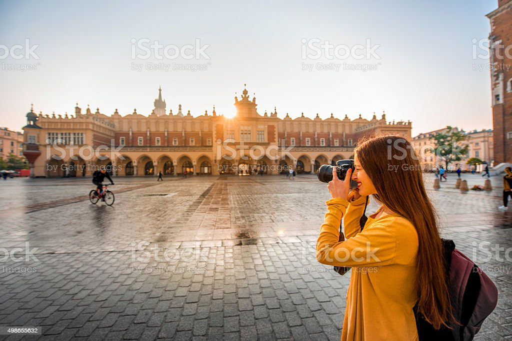 Female tourist in the center of Krakow stock photo