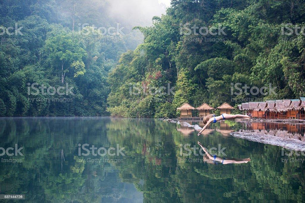 Female Tourist, Khao Sok National Park, Thailand stock photo