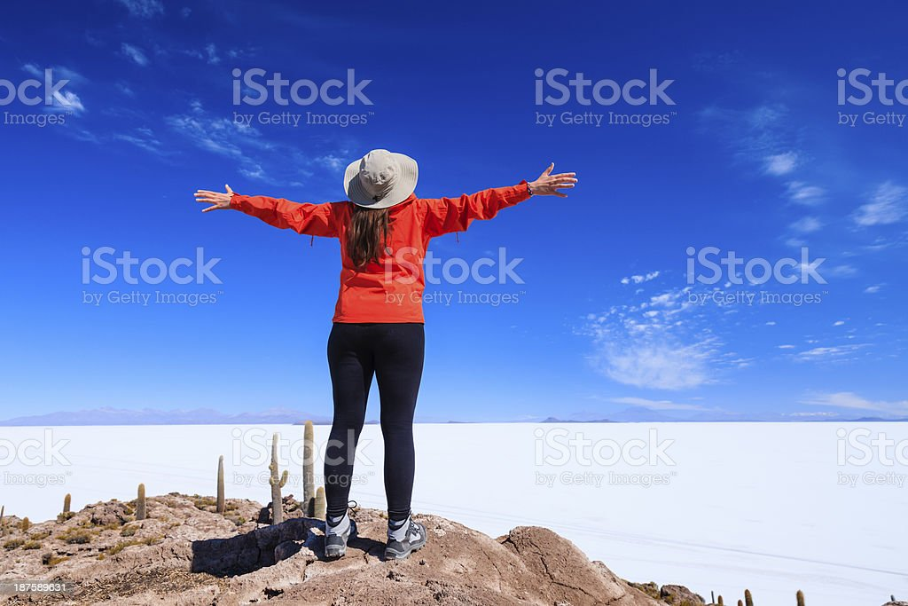 Female tourist on Isla Wasi, Salar de Uyuni stock photo