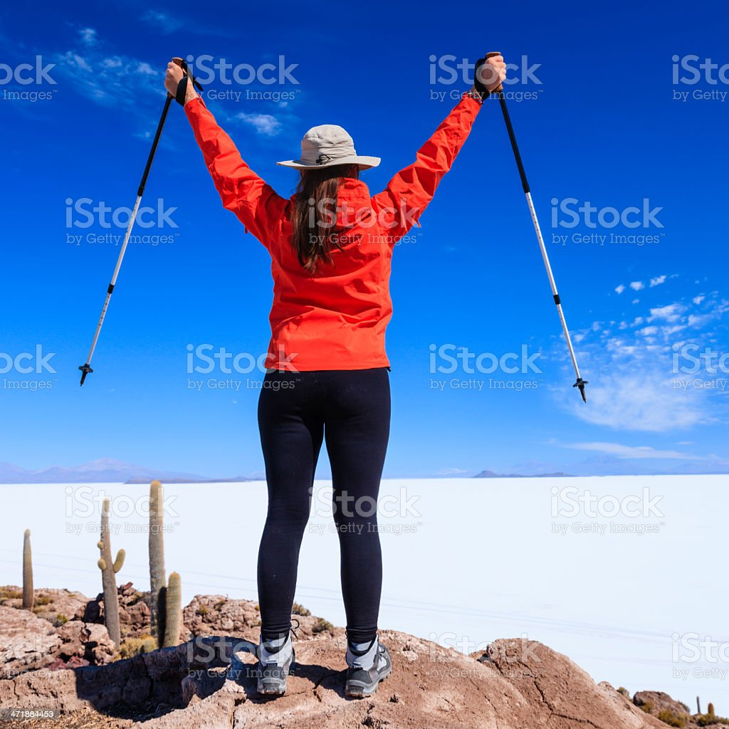 Female tourist on Isla Wasi, Salar de Uyuni royalty-free stock photo