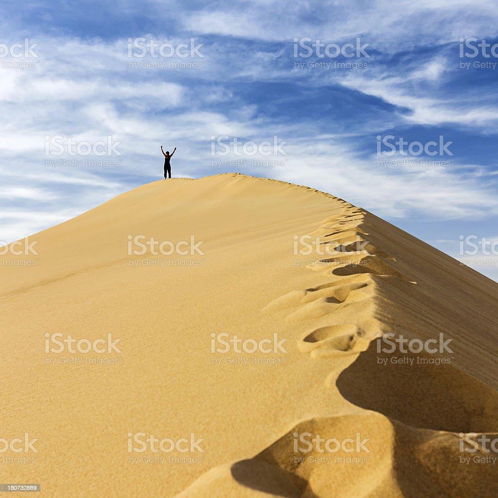 Female tourist standing on the top of sandune, Sahara Desert royalty-free stock photo