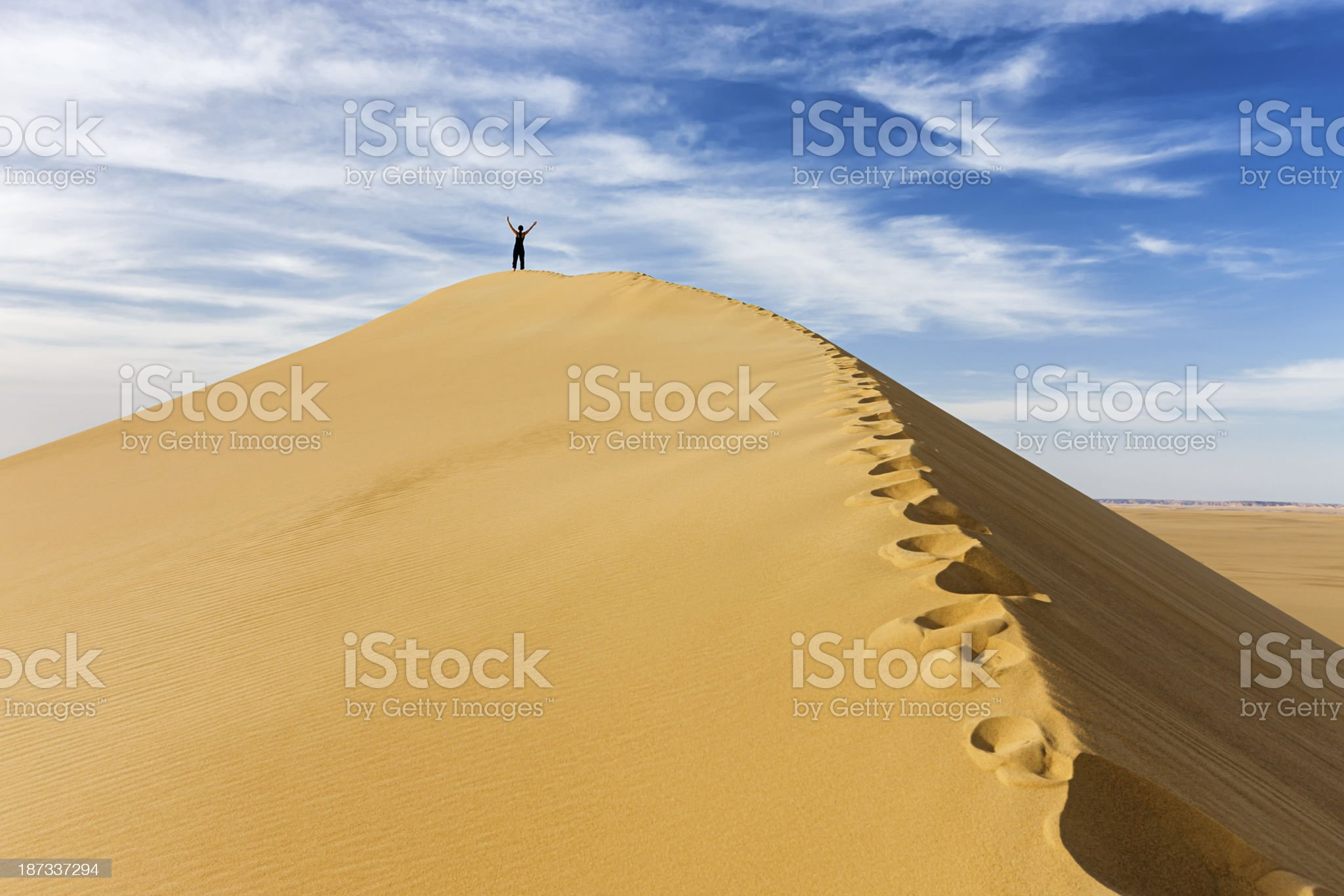 Female tourist standing on the top of sandune, Sahara Desert royalty-free stock photo