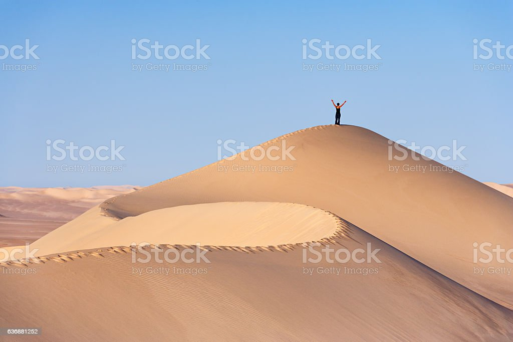 Female tourist standing on the top of sandune, Sahara Desert stock photo