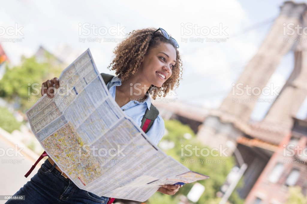 Female tourist with a map in New York stock photo