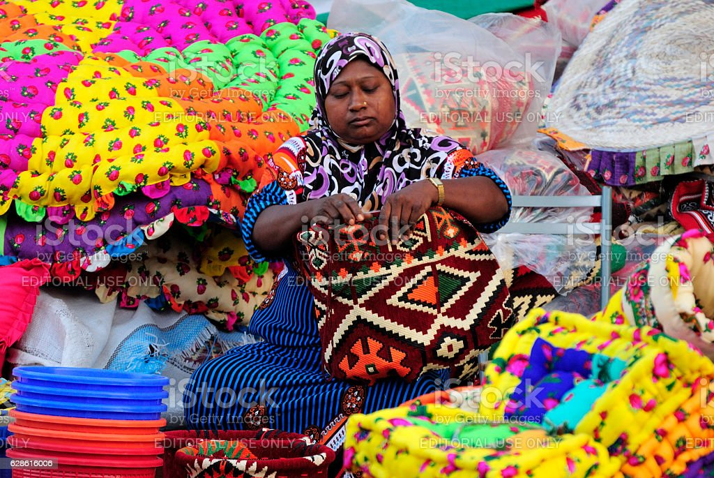 Female trader at Souq Waqif market in Doha stock photo
