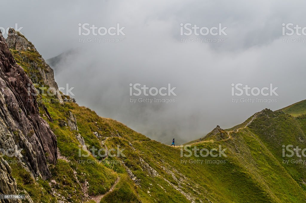 Female trailrunning in mountains of Lechtal Alps, North Tyrol, Austria stock photo