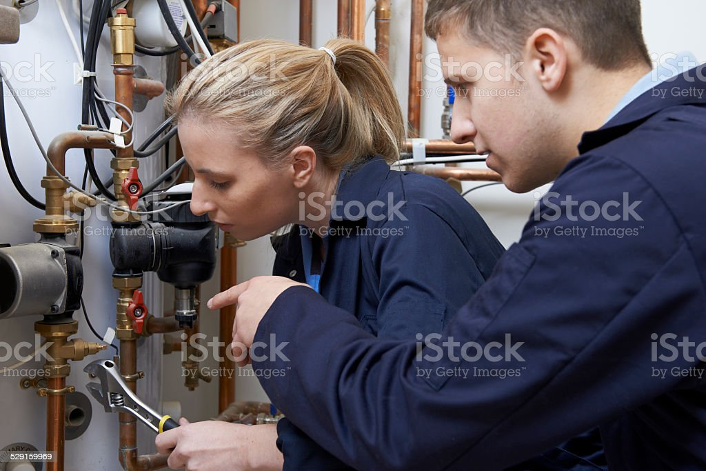 Female Trainee Plumber Working On Central Heating Boiler stock photo