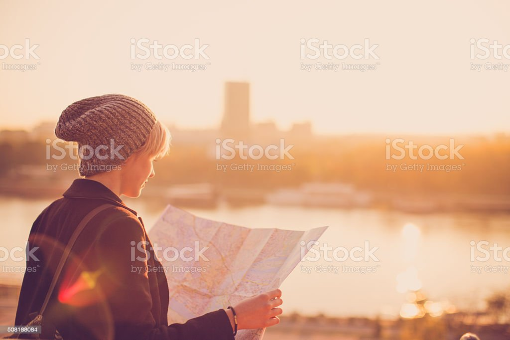 Female traveler stock photo