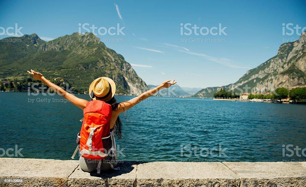 Female traveler. stock photo