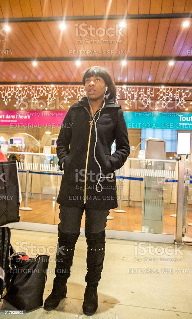 Female traveller at Paris Railway Station stock photo