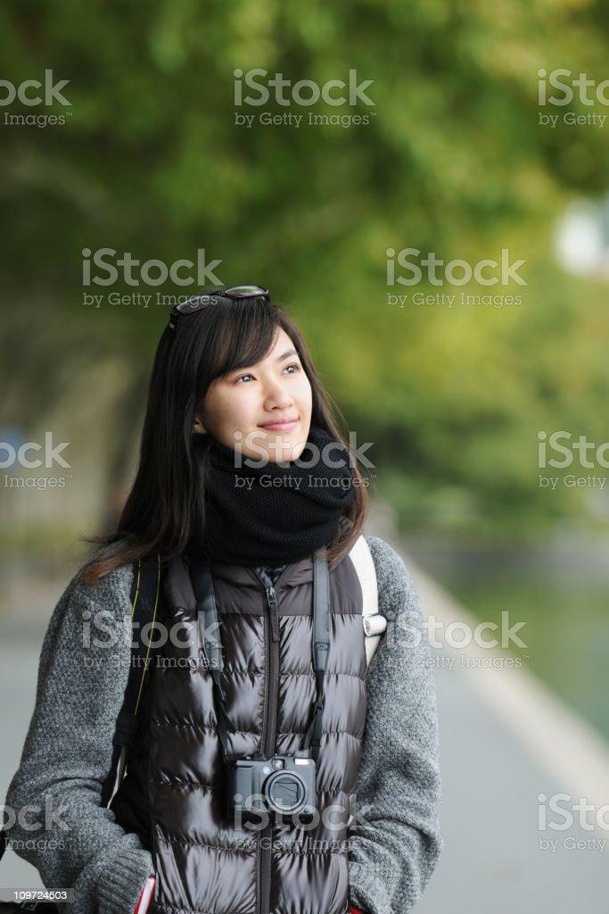 Female Traveller Enjoy The Beautiful Scenery - XLarge royalty-free stock photo
