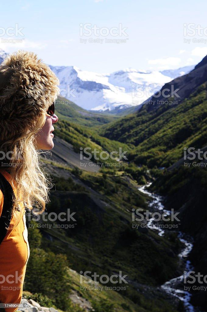 Female Trekker in the Torres del Paine National Park royalty-free stock photo