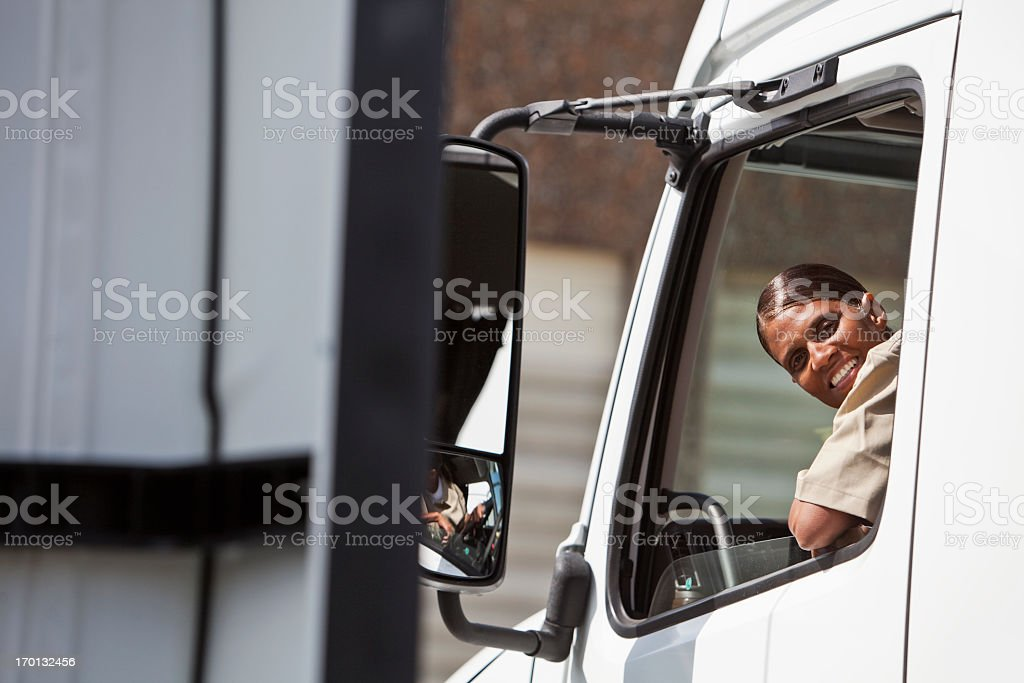 Female truck driver stock photo