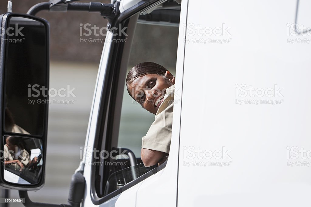 Female truck driver royalty-free stock photo