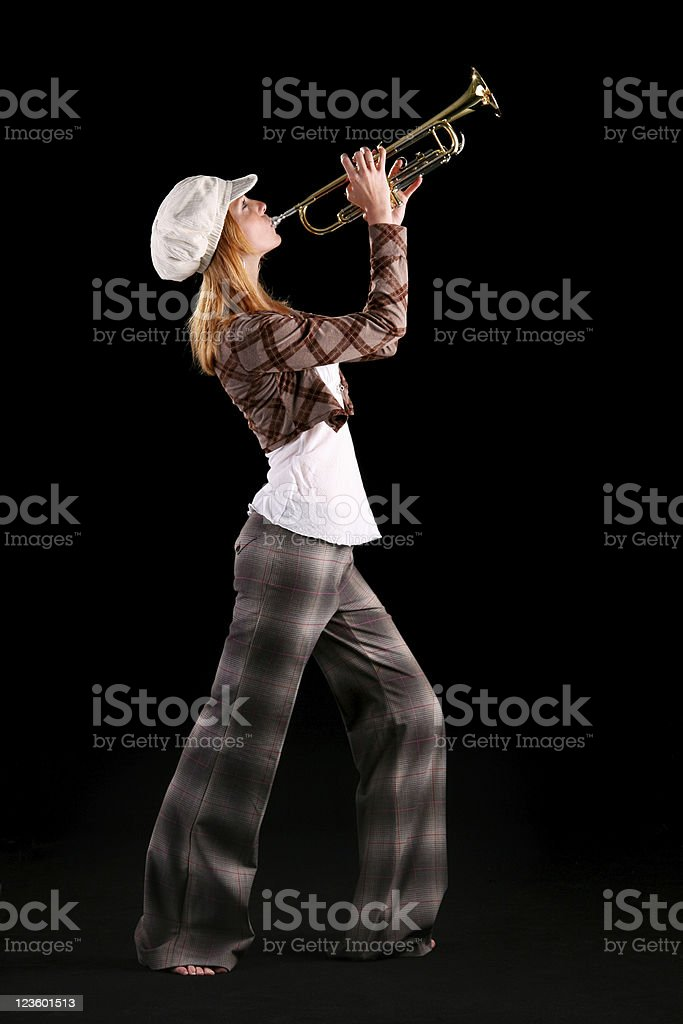 Female trumpet player royalty-free stock photo