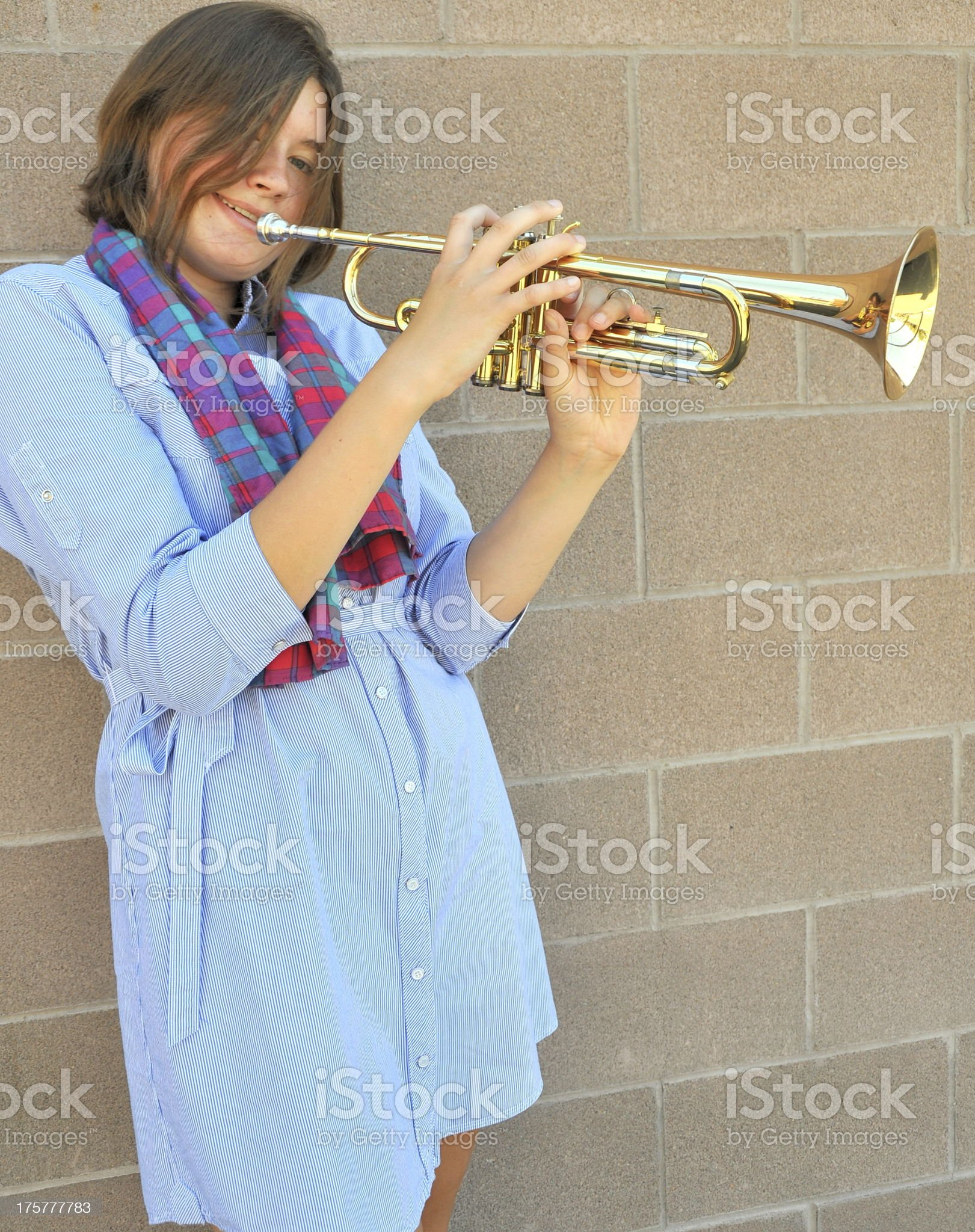 Female trumpet player. royalty-free stock photo