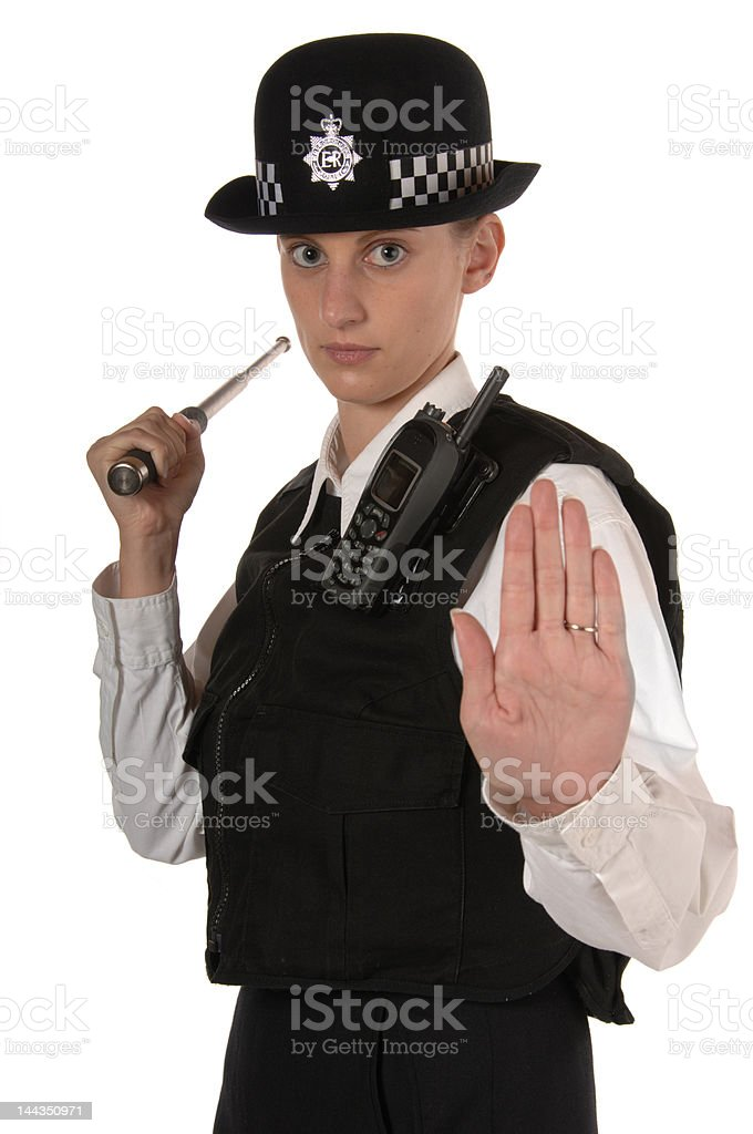 Female UK Police Officer in Ready Stance stock photo