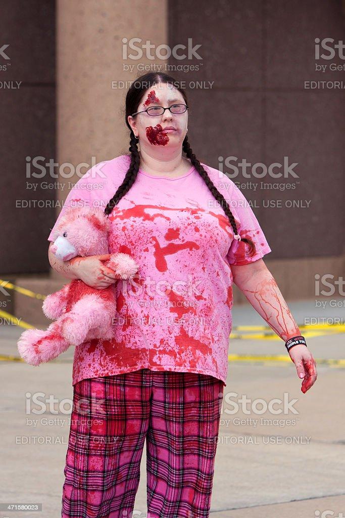 Female Undead Wanders Around In The Atlanta Zombie Run stock photo