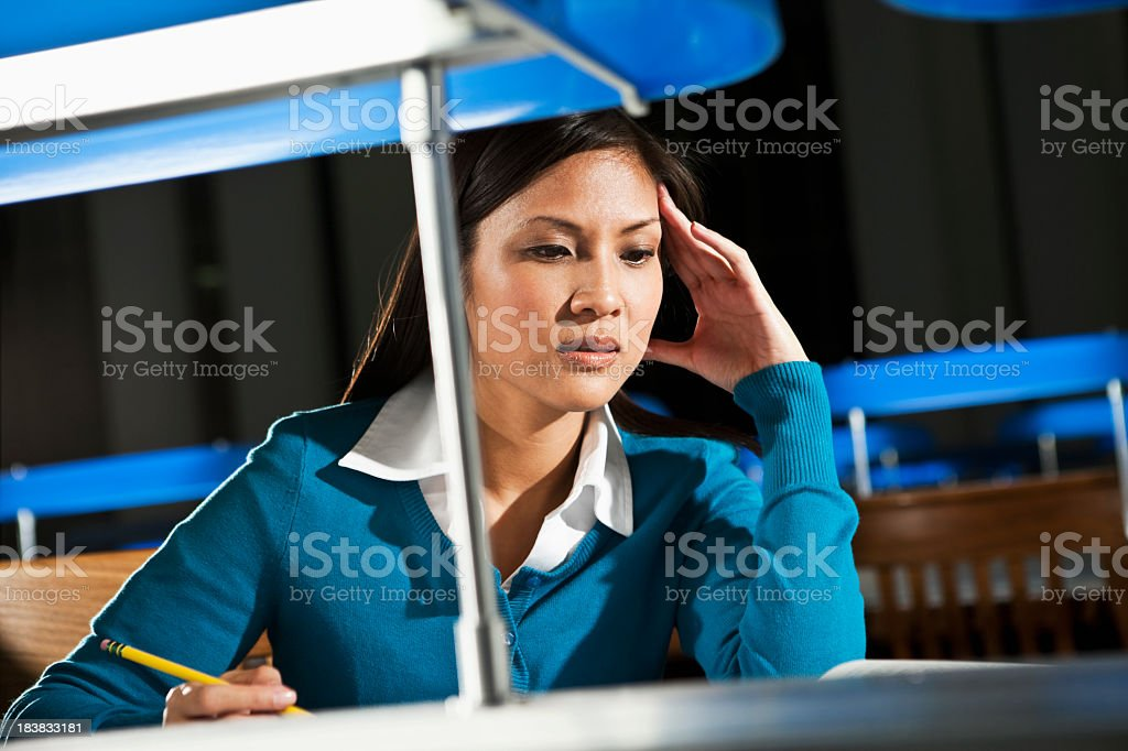 Female university student studying stock photo
