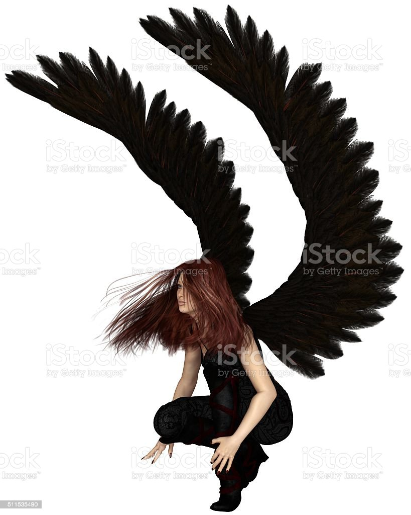 Female Urban Guardian Angel, Crouching - fantasy illustration stock photo