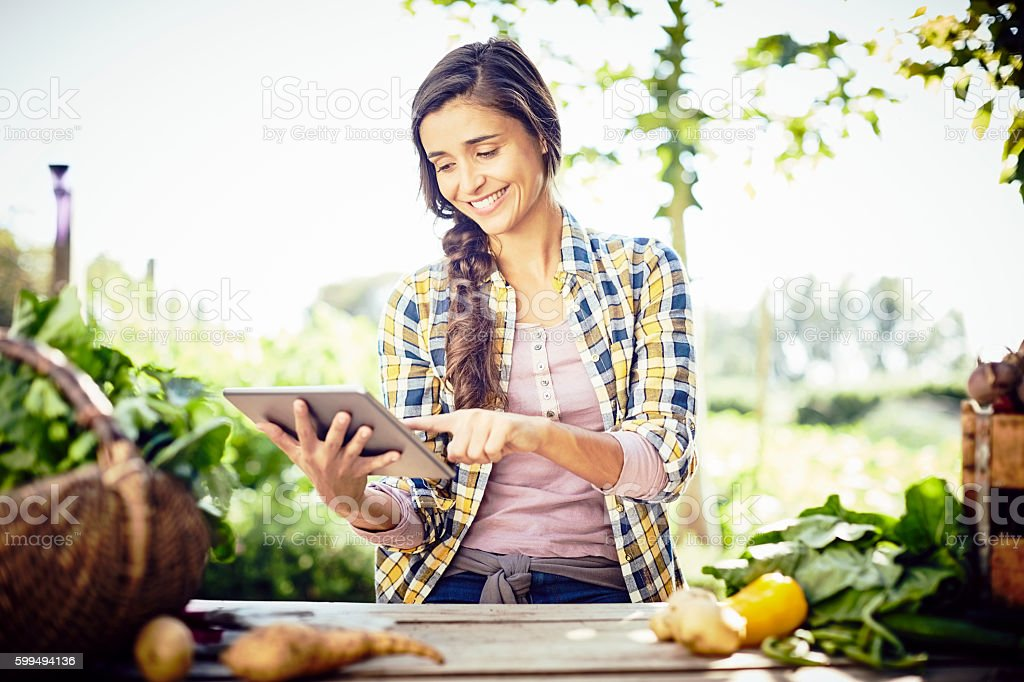 Female using digital tablet sitting at table on organic farm stock photo