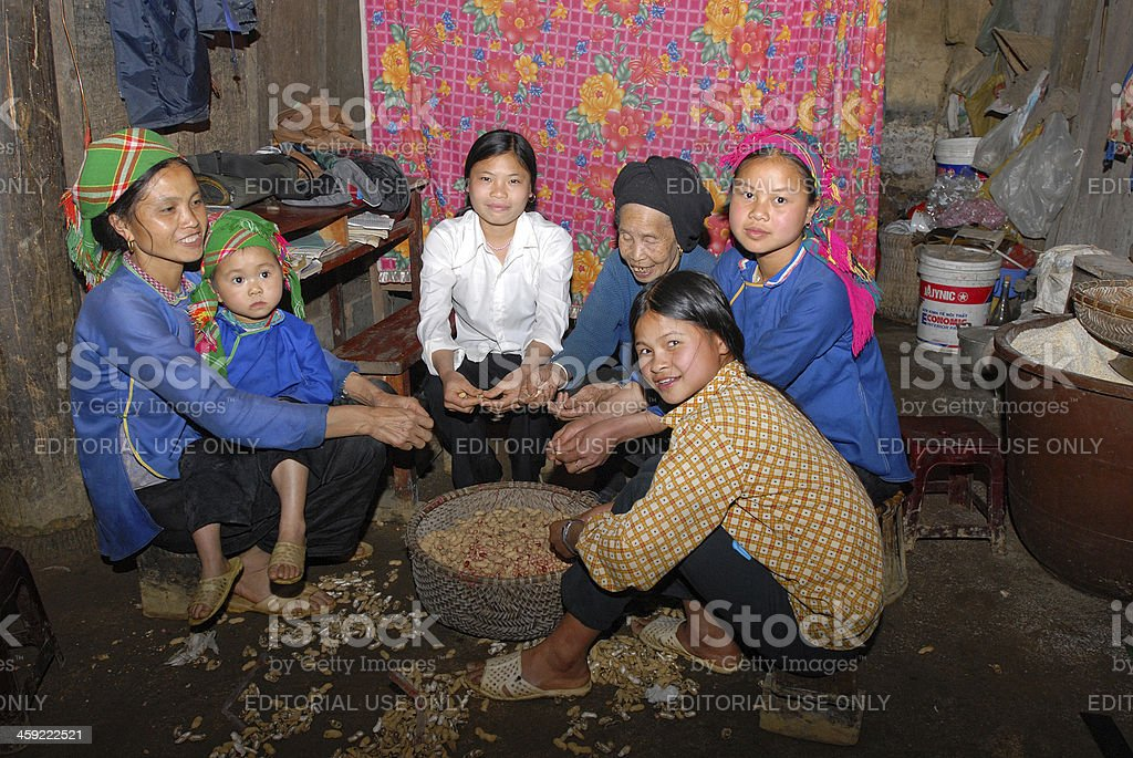 Female vietnamese farmers are shelling peanuts royalty-free stock photo