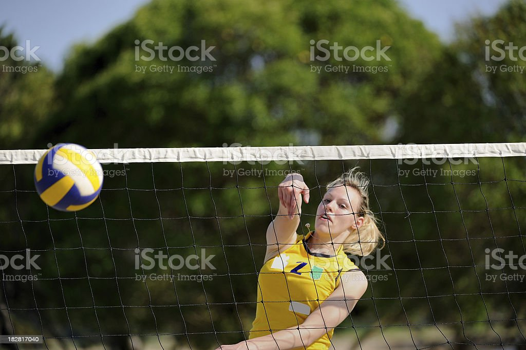 Female volleyball player at smash royalty-free stock photo
