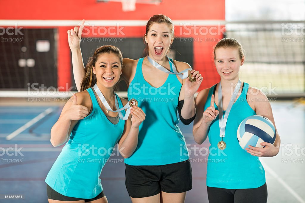 Female Volleyball Team stock photo