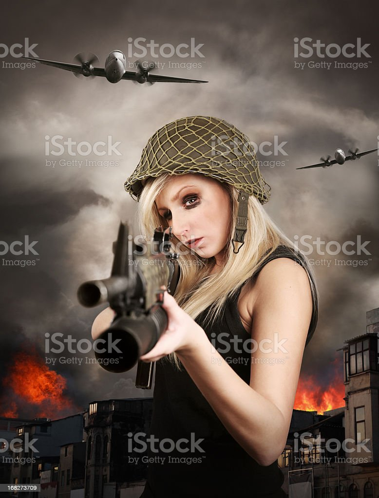 Female warrior in war zone royalty-free stock photo