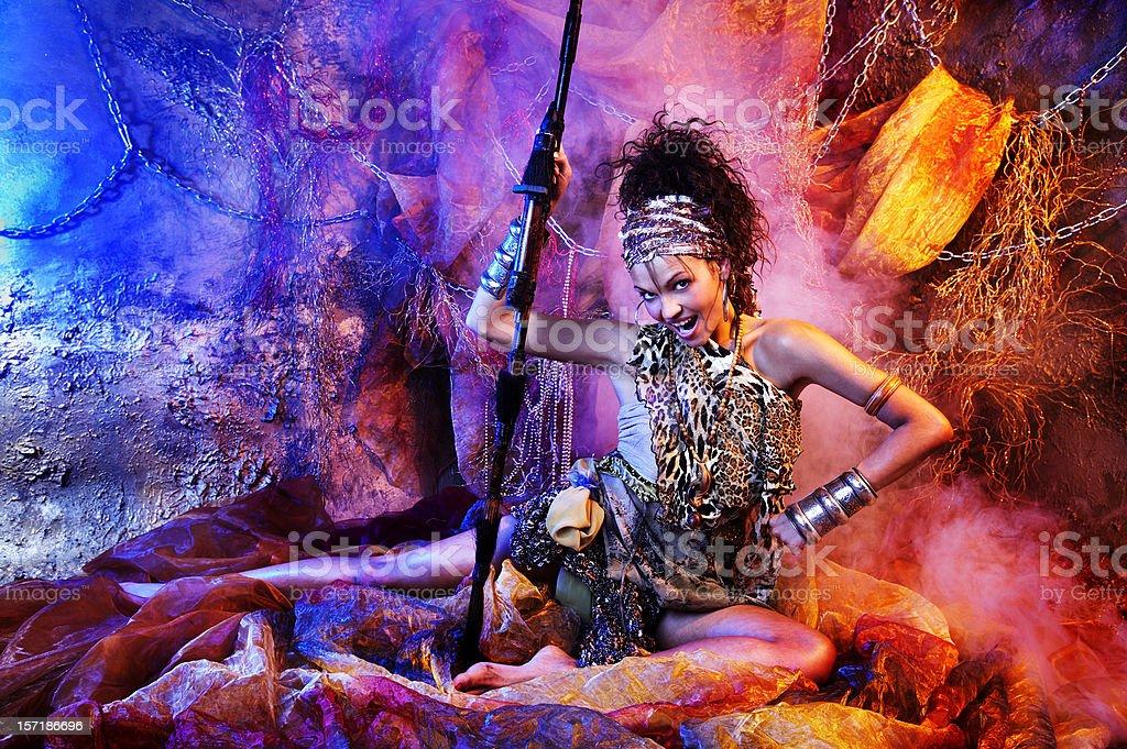Female warrior stock photo