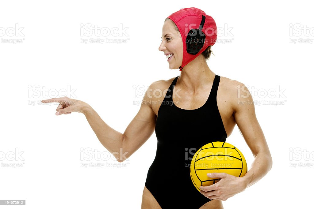 Female water polo player finger pointing stock photo