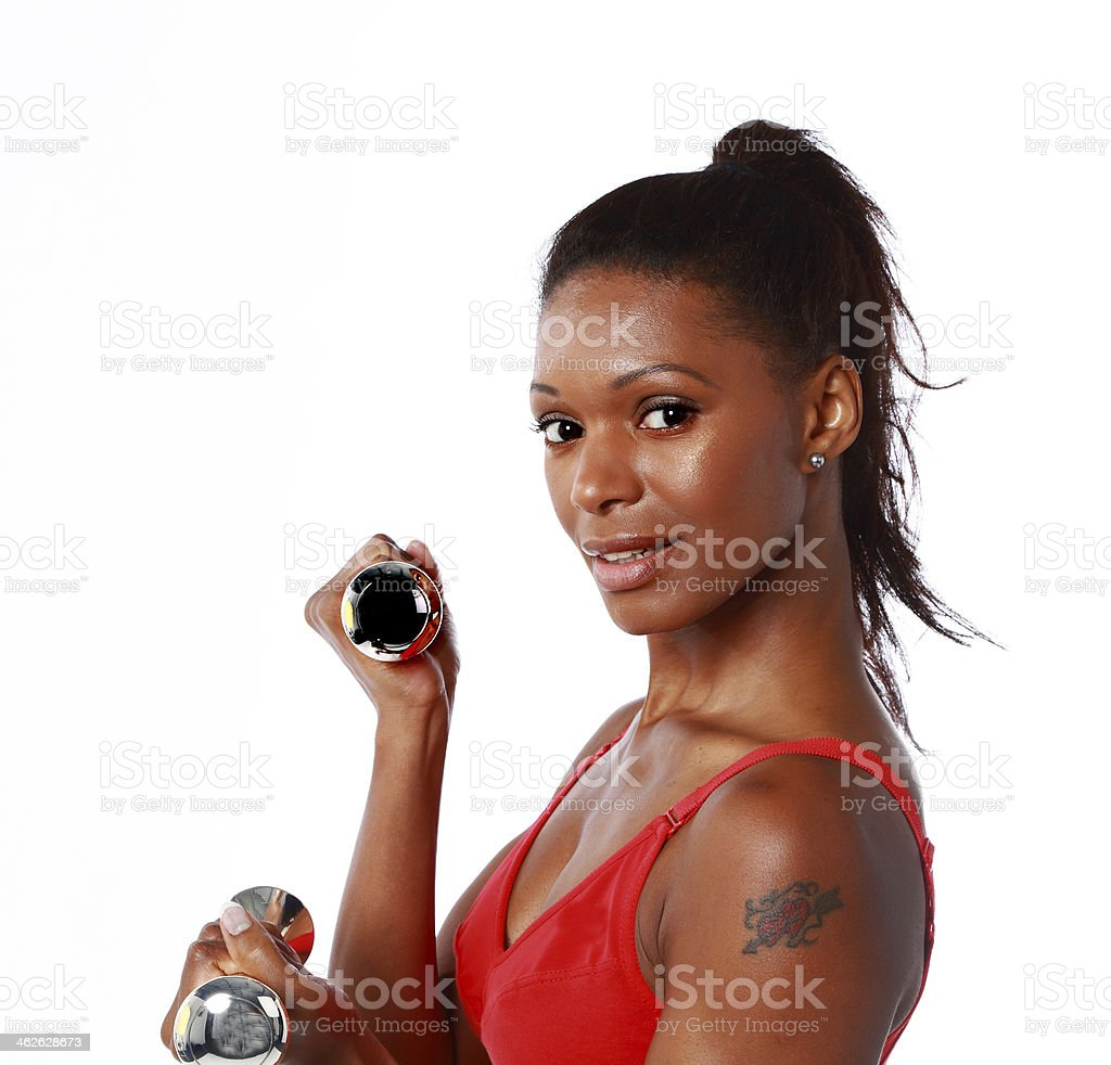 female weightlifter stock photo