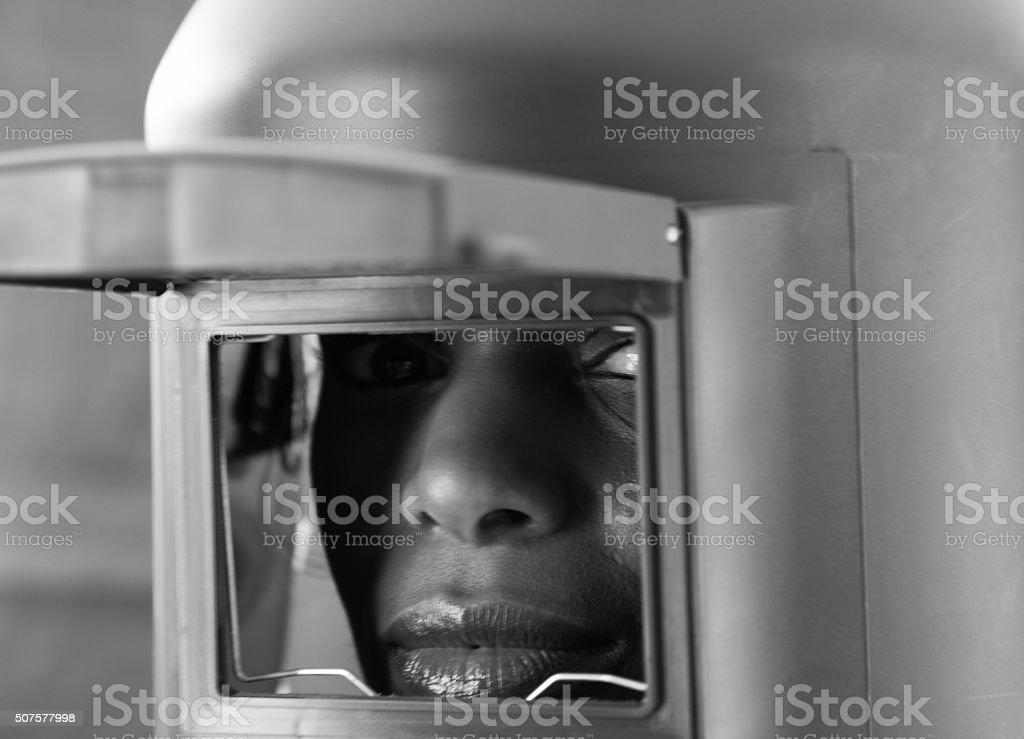 female welder and welding screen stock photo