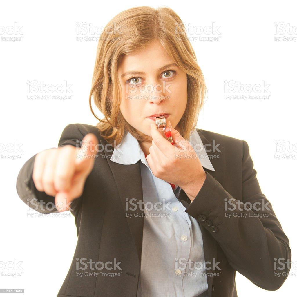 Female Whistle Blower stock photo