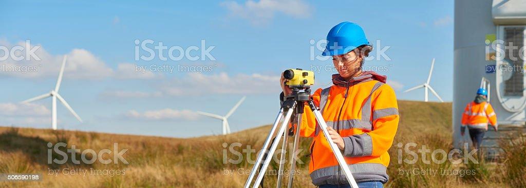 female windfarm engineer stock photo