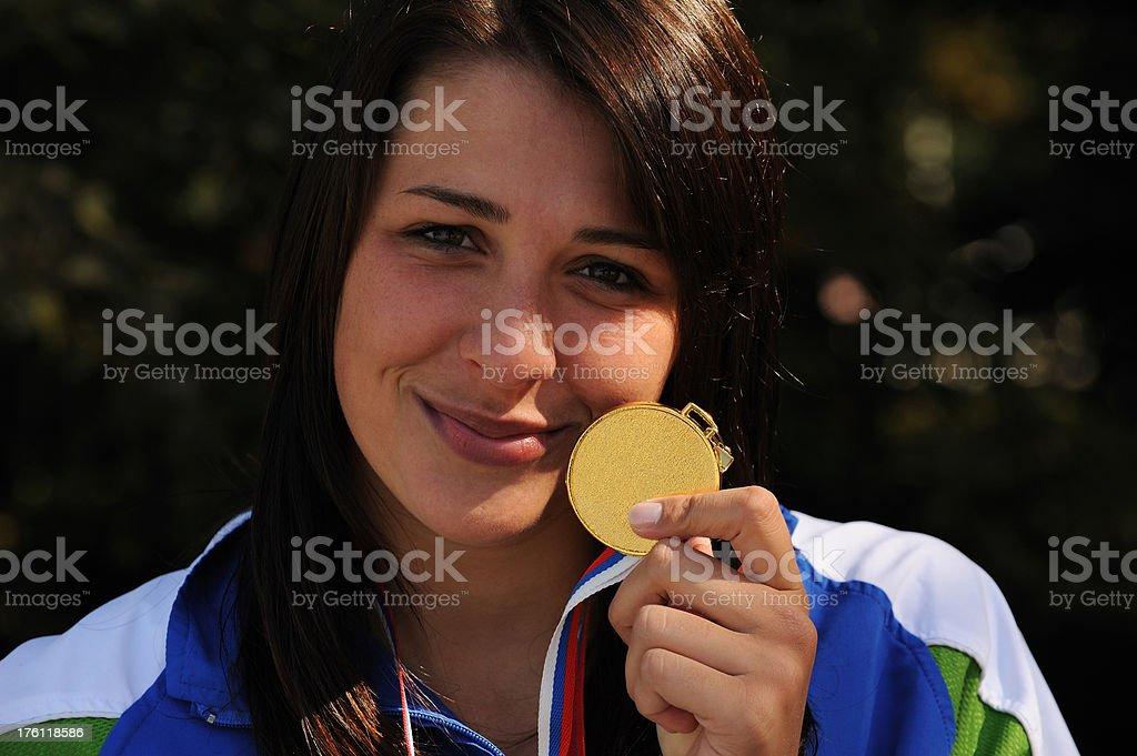 Female winner posing stock photo