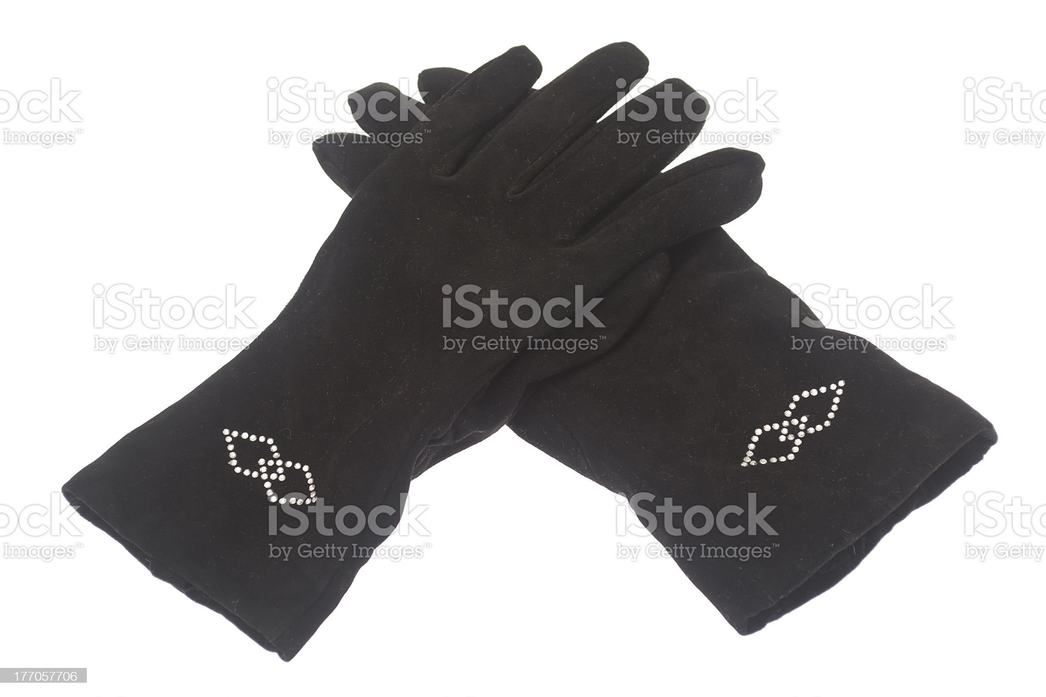 Female winter black gloves isolated on white background royalty-free stock photo