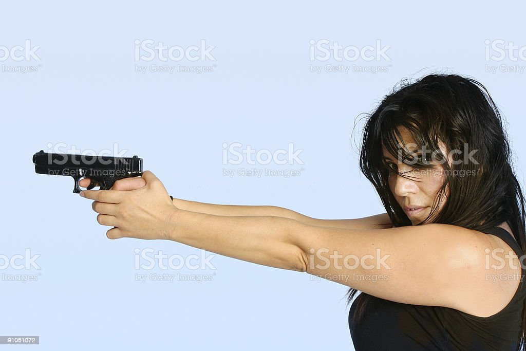 Female with a gun royalty-free stock photo