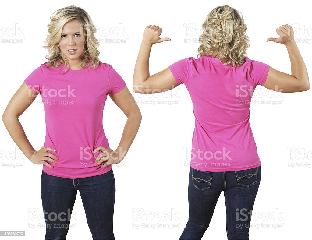 Female with blank pink shirt stock photo