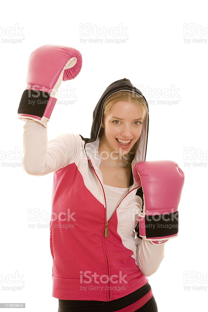 Female with boxing gloves royalty-free stock photo