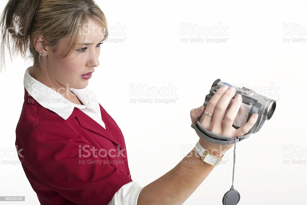 Female with camcorder royalty-free stock photo