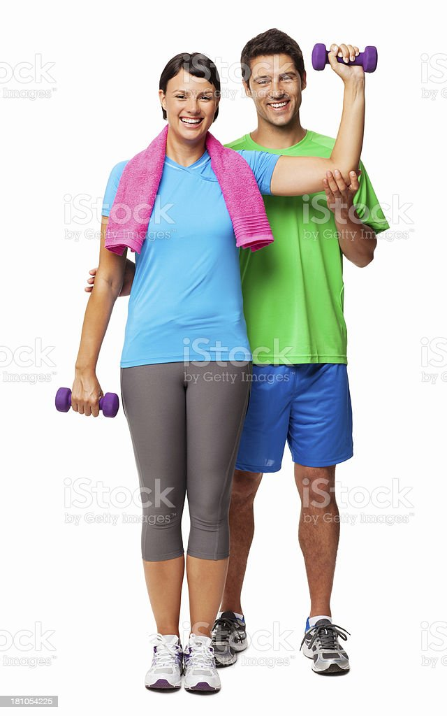 Female With Fitness Trainer - Isolated royalty-free stock photo