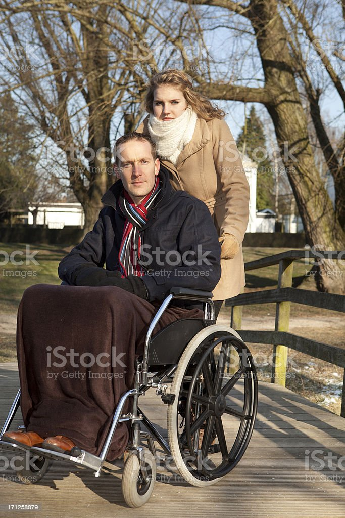 Female With Man At Park stock photo